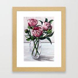 Peonies in a vase marers art Framed Art Print
