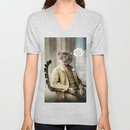 Sir Sebastian Snow Leopard Unisex V-Neck