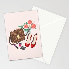 Classic Friday Night, bag, shoes, flower, make up, lipstick art print, girly illustration Stationery Cards