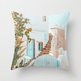 Greece Airbnb #travel #digitalart #greece Throw Pillow