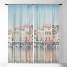 The harbor at Cassis photograph Sheer Curtain