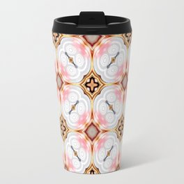 Gold Buttons Pink and White Pattern Travel Mug