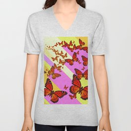 Sun Light Beams Butterflies Migrating Pink-yellow Unisex V-Neck