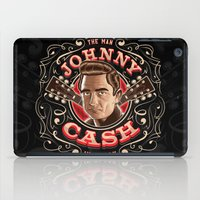 johnny cash iPad Cases featuring Johnny Cash Pinstripe by Roberlan Borges