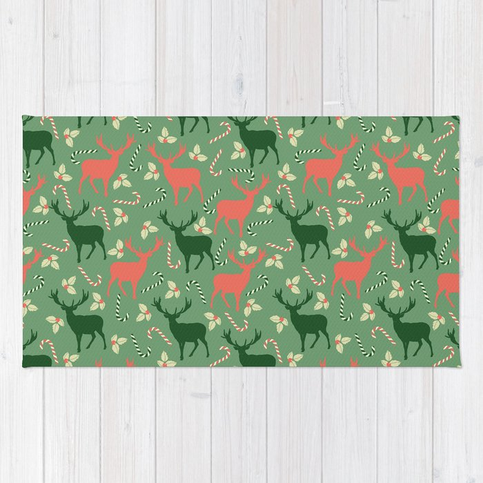 Hand painted Christmas green coral deer candy pattern Rug