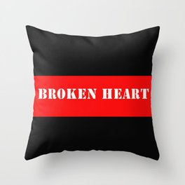 BROKEN HEART DESIGN IN RED AND BLACK Throw Pillow