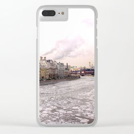 A view of spring ice floes on the Moscow river with Kremlin Clear iPhone Case