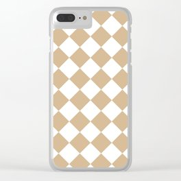 Large Diamonds - White and Tan Brown Clear iPhone Case
