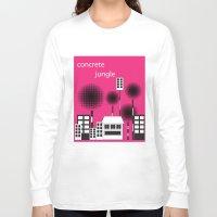 concrete Long Sleeve T-shirts featuring concrete jungle by k. Wang
