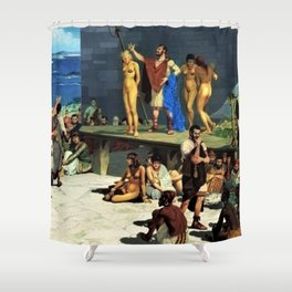 "Classical Masterpiece ""At the Roman Slave Market"" by Herbert Herget Shower Curtain"