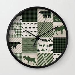 Camping hunter green plaid quilt cheater quilt baby nursery cute pattern bear moose cabin life Wall Clock