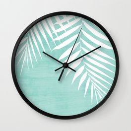 Teal Paint Stroke of Palm Leaves Wall Clock