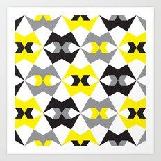 Yellow, gray & black geometric pattern Art Print
