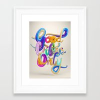 good vibes only Framed Art Prints featuring Good Vibes Only by Ben Fearnley