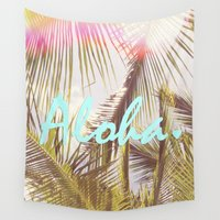 aloha Wall Tapestries featuring ALOHA by The Pixel Gypsy