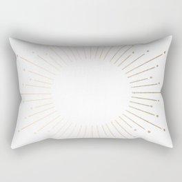 Simply Sunburst in White Gold Sands on White Rectangular Pillow