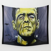 frankenstein Wall Tapestries featuring Frankenstein by Larissa Ria Loomans