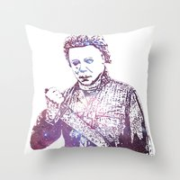 michael myers Throw Pillows featuring Galaxy Tony Moran Michael Myers by Slightly Larger Glasses