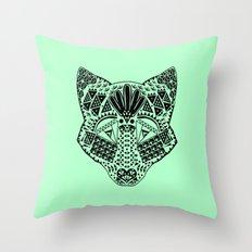 Mint Wolf Head Throw Pillow