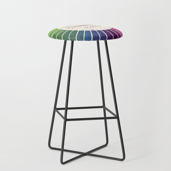 Vintage Color Wheel - Art Teaching Tool - Rainbow Mood Chart Bar Stool