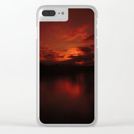 Dark Red Sunset in Montana, Water Reflection, Hues of Red, Sailor's Delight Clear iPhone Case
