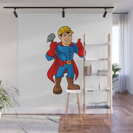 Superhero handyman guy. Wall Mural