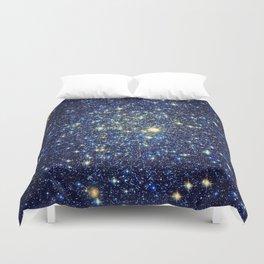 galaxY Stars : Midnight Blue & Gold Duvet Cover