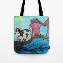 Cow In A Tree Tote Bag