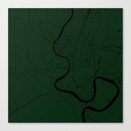 Bangkok Thailand Minimal Street Map - Forest Green and Black Canvas Print
