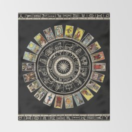 The Major Arcana & The Wheel of the Zodiac Throw Blanket