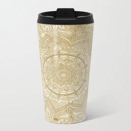 tan splash mandala swirl Metal Travel Mug
