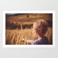 Girl in the field Art Print