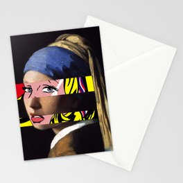 Vermeer's Girl with a Pearl Earring & Lichtenstein's Girl with a Hair Ribbon Stationery Cards