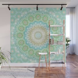Earth and Sky Mandala in Pastel Blue and Green Wall Mural