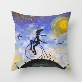 Evening Bike Ride Throw Pillow
