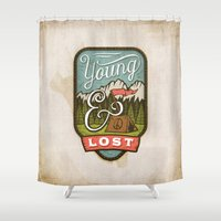 camp Shower Curtains featuring Camp by Seaside Spirit