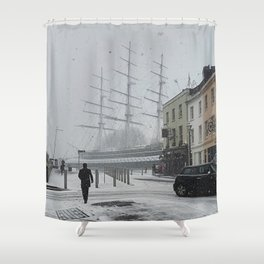 The Clipper in the snow Shower Curtain