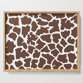 Animal Print (Giraffe Pattern) - Brown White Serving Tray