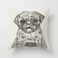 persian Throw Pillows featuring Persian Pug by Huebucket