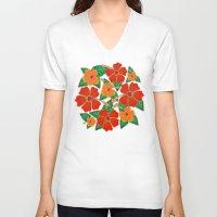 batik V-neck T-shirts featuring Hibiscus Batik Pattern by BluedarkArt