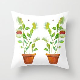 Venus Fly Trap Watercolor Throw Pillow