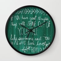 roald dahl Wall Clocks featuring Good Thoughts by rags