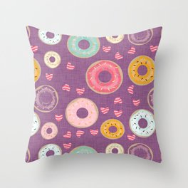 hearts and donuts purple Throw Pillow