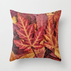 Colorful Autumn Maple Leaf Indian Summer Red Throw Pillow