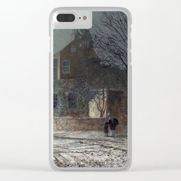 John Atkinson Grimshaw - Yew Court, Scalby, Near Scarborough - Victorian Retro Vintage Painting Clear iPhone Case