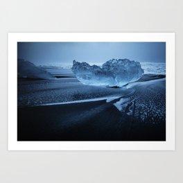 Sveitarfélagið Hornafjörðu,  Blue Ice at the Black Sand Beach, Glacier Lagoon, Iceland Art Print