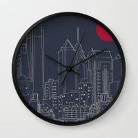 blueprint Wall Clocks featuring Philly Blueprint by ralexandertrejo