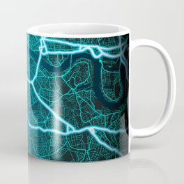 London, England, Blue, White, Neon, Glow, City, Map Coffee Mug