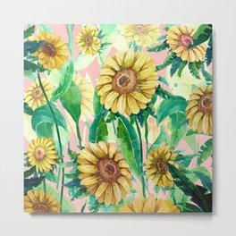 sunflowers in pink Metal Print