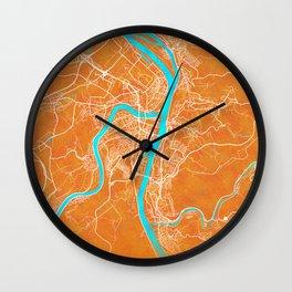 Koblenz, Germany, Gold, Blue, City, Map Wall Clock